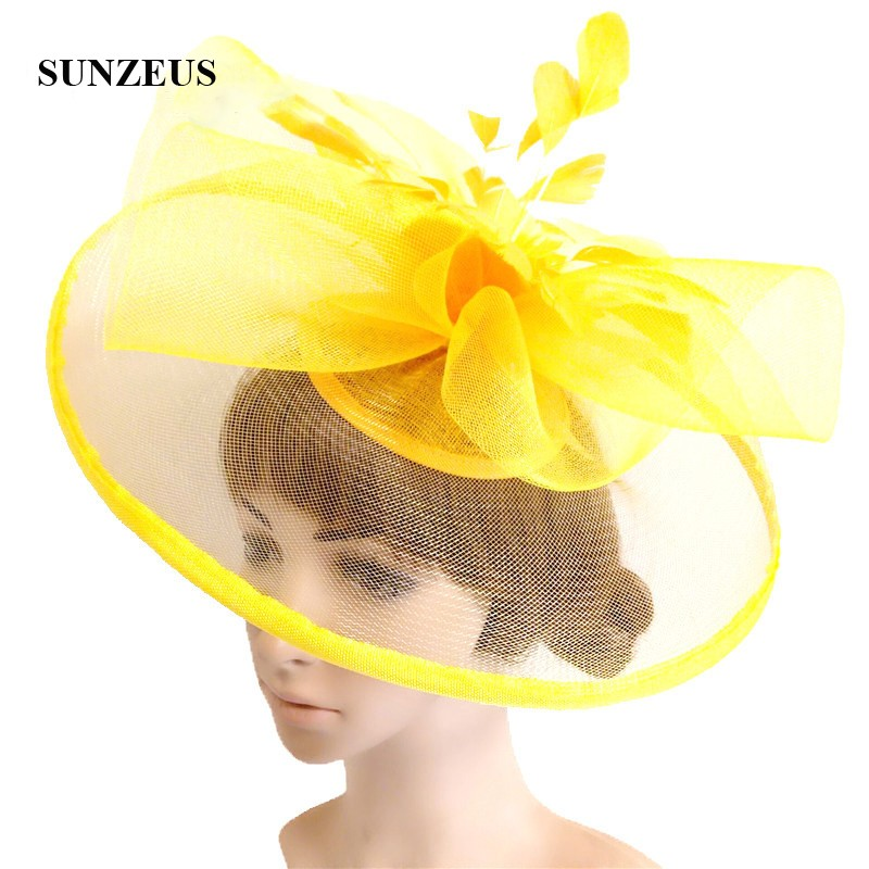 Big Tulle Hats With Feathers Flower Gorgeous Wedding Hat 2018 Newly Yellow Hats For Prom Dancing Party Hair Accessories SH66