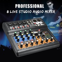 Leory Mini Portable Mixer 8 Channel Professional Live DJ Studio Audio KTV Karaoke Mixer USB Mixing Console 48V for Family KTV