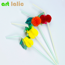100Pcs/lot 26cm Hawaiian Theme Colorful 3D Fruit Plastic Straw Summer Party Decoration Drink Decor Cocktail Drink Straw Funny