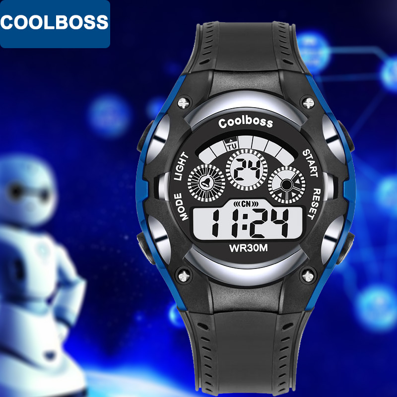 COOLBOSS Sport Student Children Watch Kids Watches Boys Girls Clock Child 2018 LED Digital Electronic Wrist Watch for Boy Hour children sport watches digital wristwatches for student kids boys girls clock 2018 led electronic watches waterproof kol saati