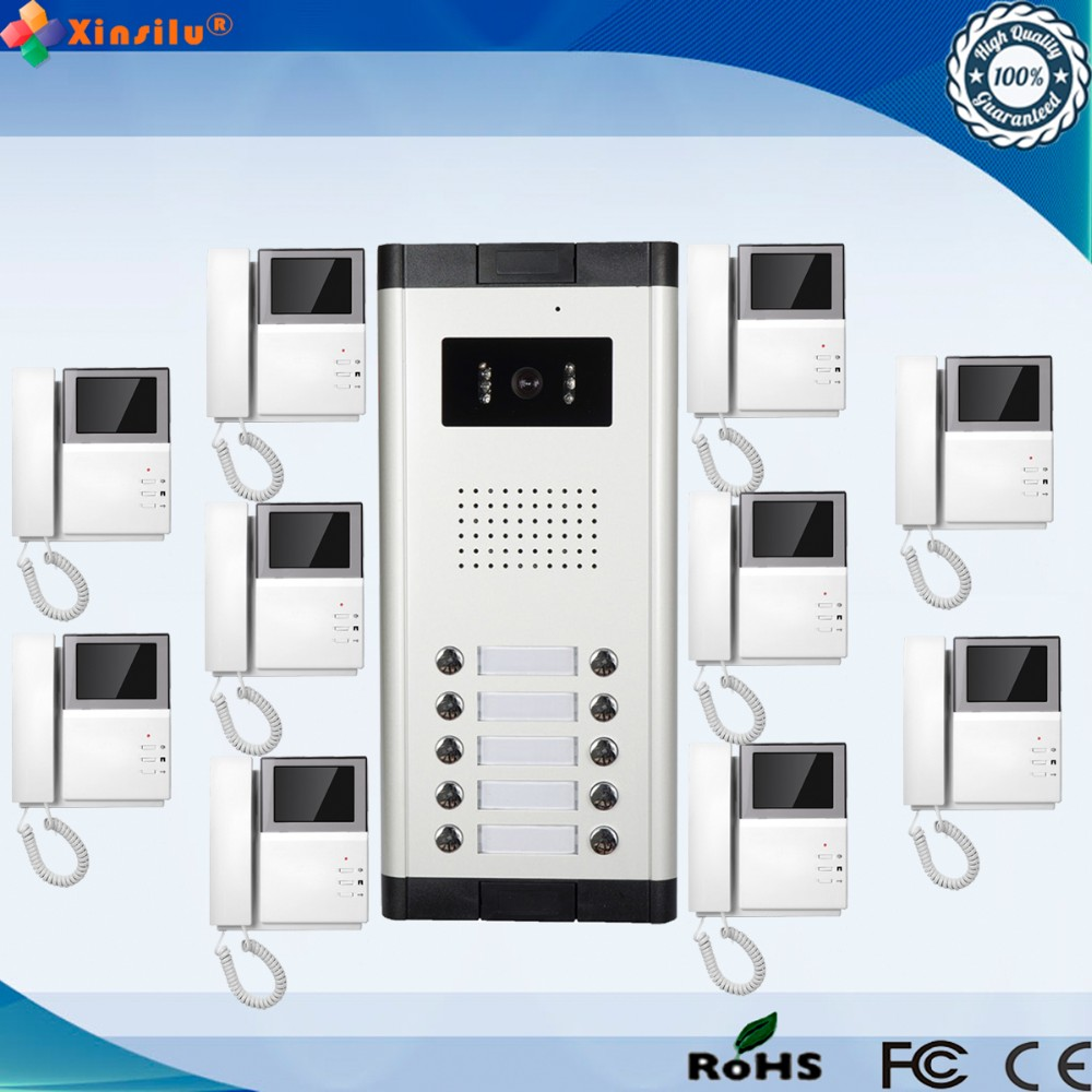 4.3 Inch 1V10 Indoor  Monitor Wired Intercom Video Door Phone