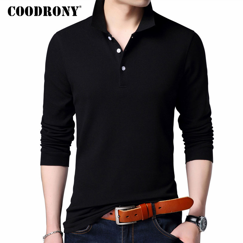 COODRONY 100% Cotton T Shirt Men Brand Clothes 2018 Autumn Long Sleeve T-Shirt Men Casual Classic Pure Color Tee Shirt Homme 615