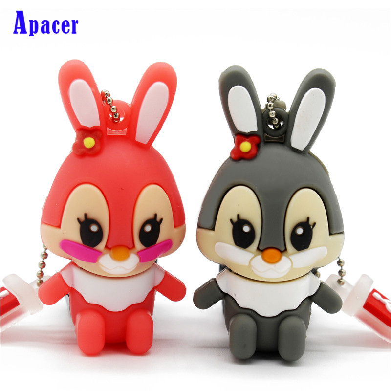 Apacer usb flash drive pen drive pink memory stick gray rabbit 8GB 16GB pendrive white rabbit usb 2 0 flash jump drive 2gb