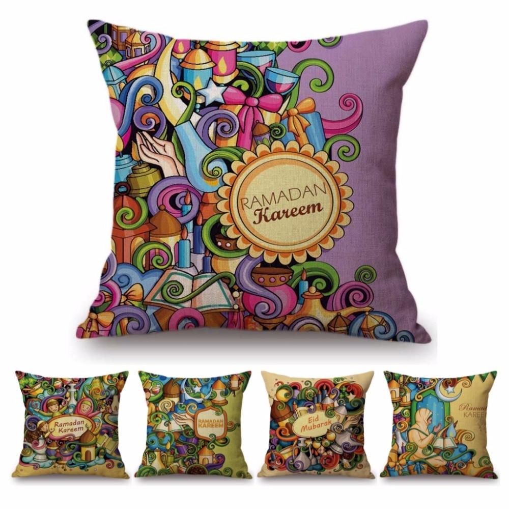 Muslim Islamic Eid Mubarak Ramadan Decoration Sofa Throw Pillow Cover Cute Cartoon Ramadan Kareem Children Gift Cushion Cover