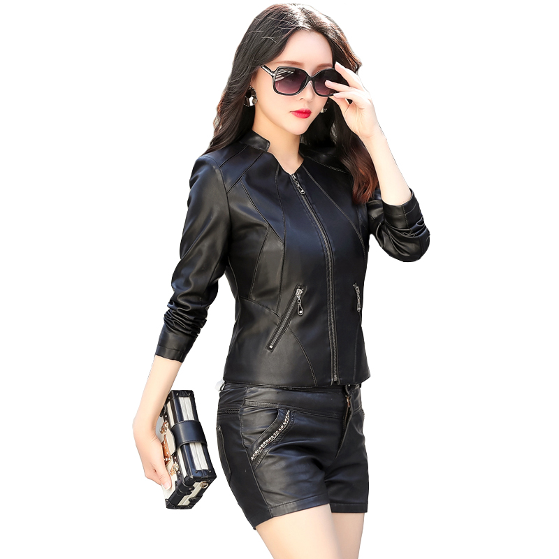 2018 Female Leather Jacket Plus Size Leather Jacket For Women Autumn Winter Motorcycle Faux Leather Coat Ladies Short Outfits plus size women in leather