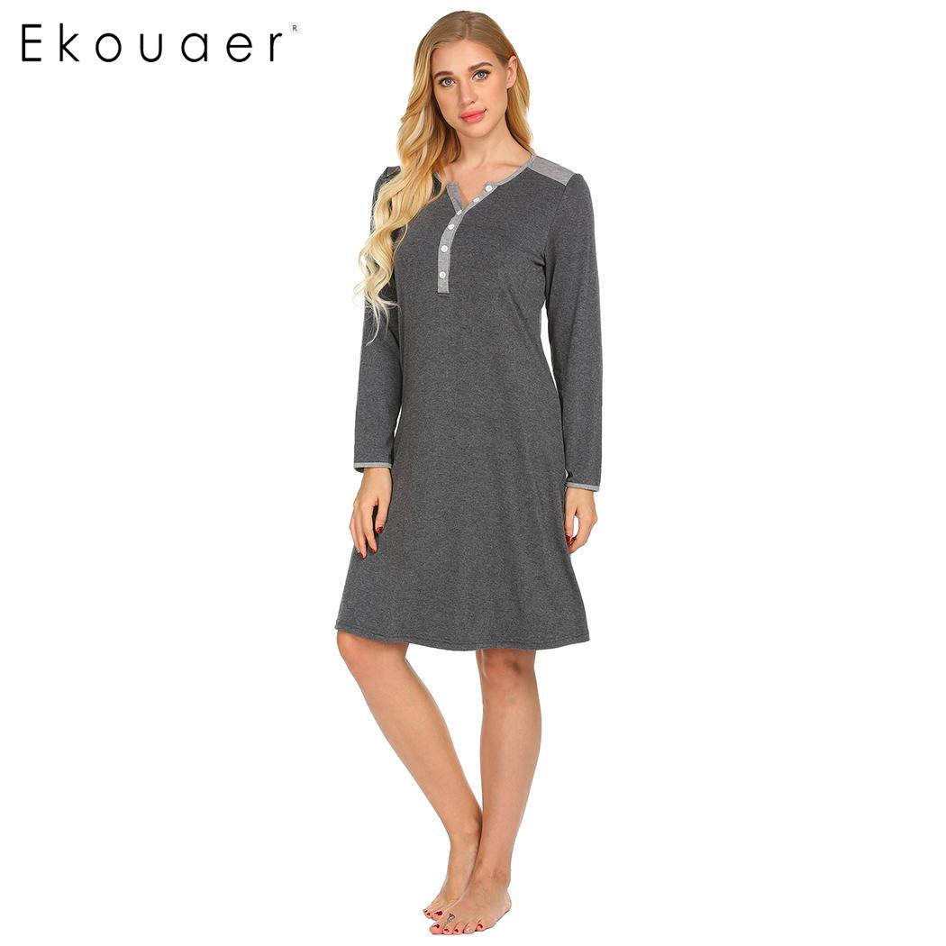 Ekouaer Women   Nightgown   Chemise   Sleepshirts   Casual Long Sleeve Patchwork Nursing Maternity Night Dress Spring Autumn Sleepwear