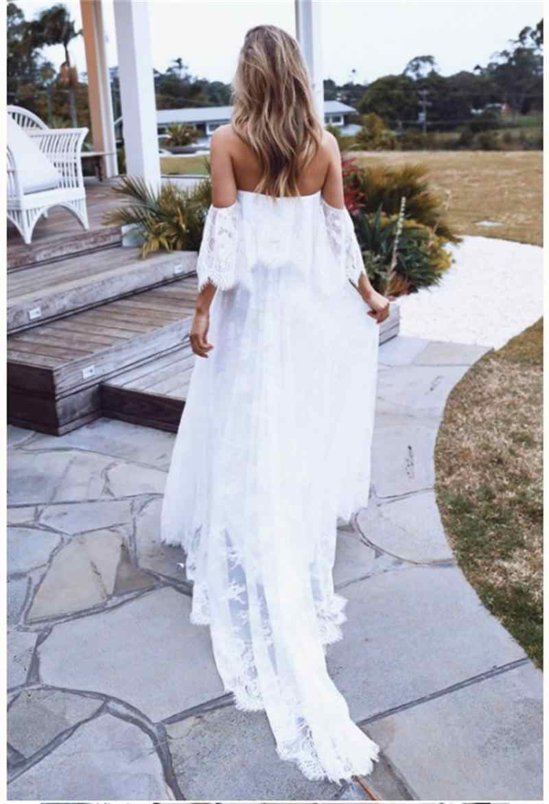 Sumemr חוף תחרה כבוי כתף ללא משענת חתונת שמלת 2019 Boho שיק חתונה שמלות שמלות הכלה robe de mariage
