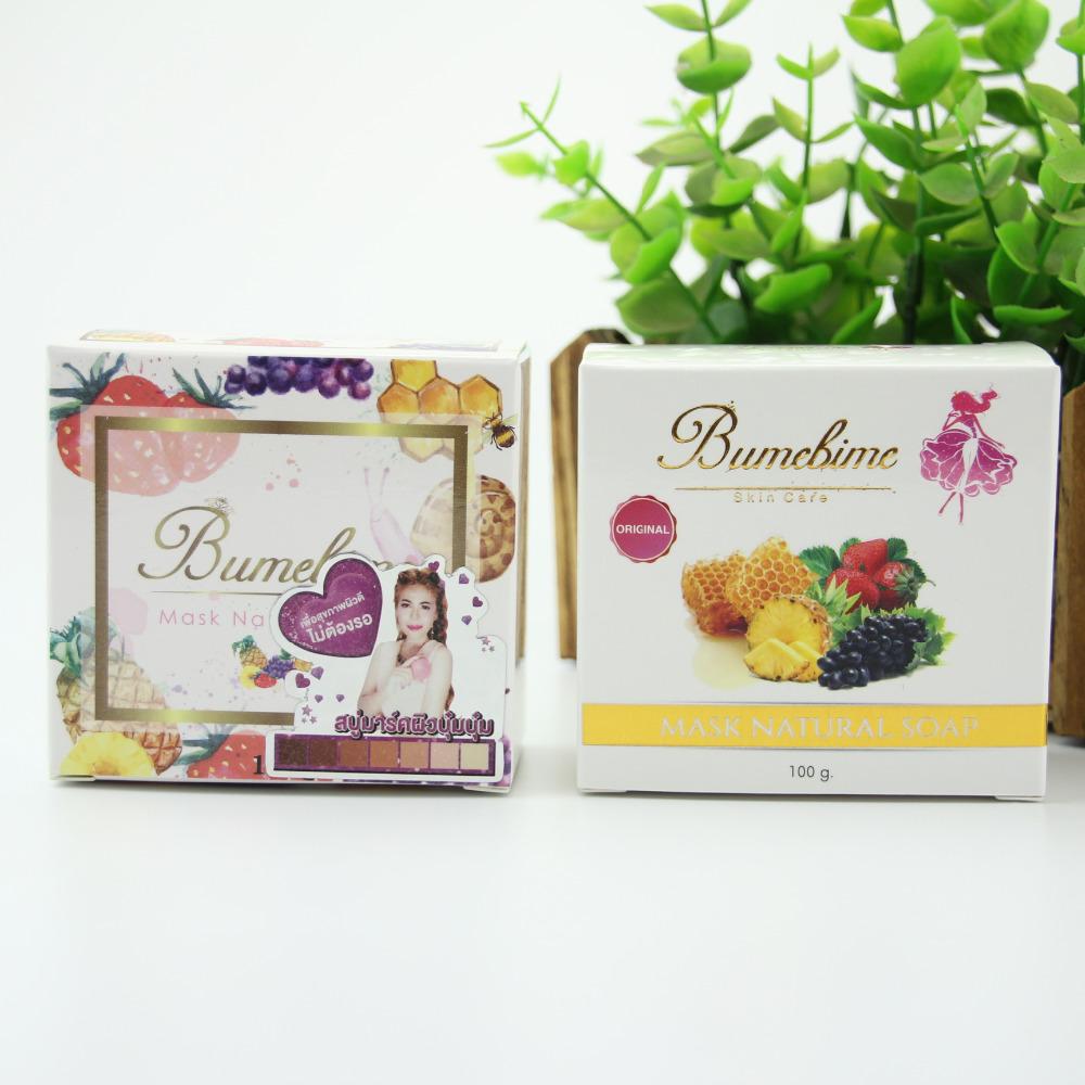 Thailand Whitening Handmade Soap Hot Bumebime Soap Fruits Essential Oil Bath and Body Works Beauty Facial Cleasing Soap 100g
