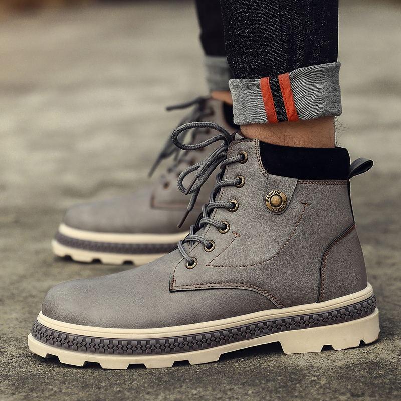 MIUBU Man Warm Waterproof Rain Boots Shoes 2019 New Mens Ankle Snow Boot Fashion men Winter Martin boots