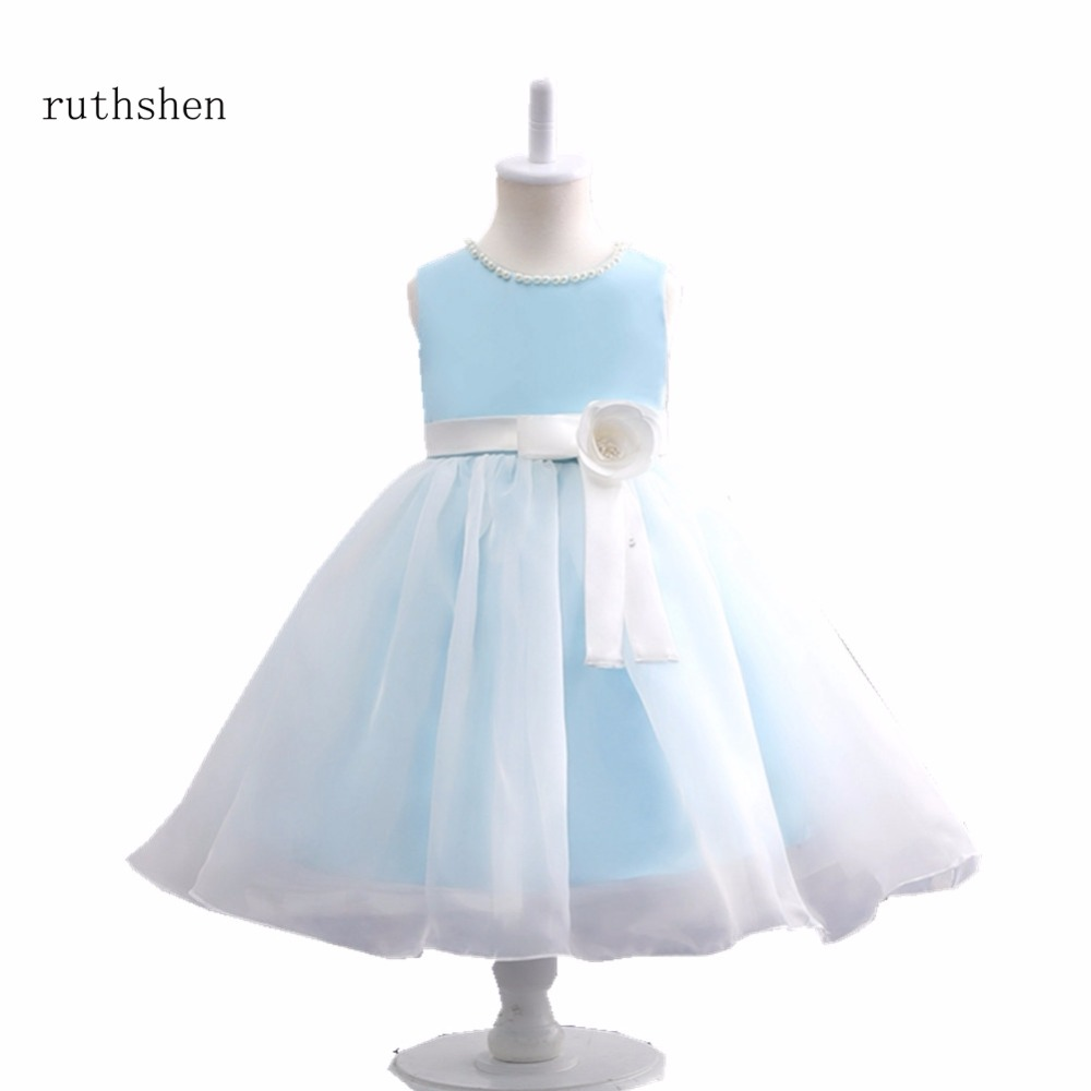 ruthshen   Flower     Girl     Dress   2018 New   Girls   Pearls Wedding Party Princess   Dresses   Kids White   Flower     Girl     Dresses   For Wedding