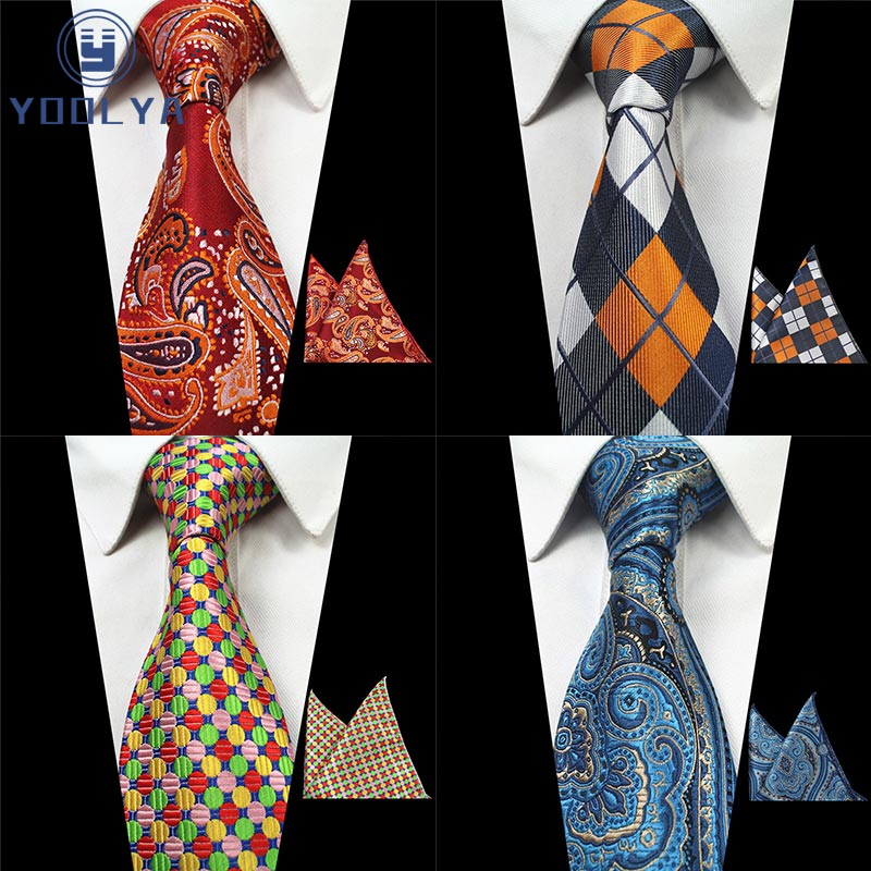 Men's Classic Tie Polyester Silk Jacquard Woven 8CM Plaid Floral ( Necktie Hanky Sets ) For Adult Formal Wedding Business Party
