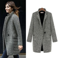 Fashion Long Woolen Women Coat Winter Plaid Jacket Wool Blend Cape Coat Tweed Outwear Medium long size special price