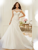 Latest Design Cathedral Wedding Gowns 2015 Cap Sleeve Appliques Sheer Neck Bridal Gowns A Line Organza Vestido De Noiva MW3176