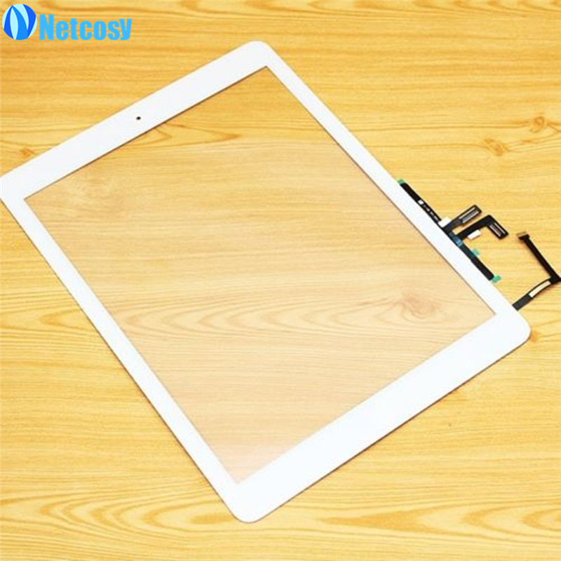 все цены на Netcosy For ipad Air Touch Glass Screen Digitizer Home Button Adhesive Assembly replecement parts For ipad 5 touchscreen онлайн
