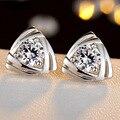2016 Hot Sales Women's Luxury Crystal Zircon Triangle Ear Studs Earrings For Women Silver Plated Geometry Earring Brincos Bijoux