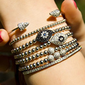 Fashion Women Bracelet,Evil Eye Macrame Bracelet For Femen,6mm Pave White CZ Bead Braiding pulseiras feminina Macrame Bangle