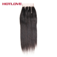 Hotlove Hair Three Part Closure Straight Lace Closure With Baby Hair Remy Human Hair 8″-18″ Natural Color