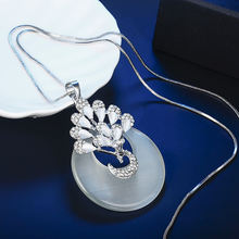 Женское длинное ожерелье с изображением павлина