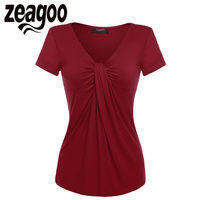 Zeagoo Women V Neck Short Sleeve T Shirt Solid Casual Lady Summer Tops Twist Knot Front