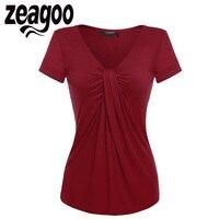 Zeagoo 여성 V 넥 짧은 소매 T 셔츠 솔리드 캐주얼 레이디 여름 탑 트위스트 매듭 전면 T 셔츠 티 최고 5 색 Sml XL