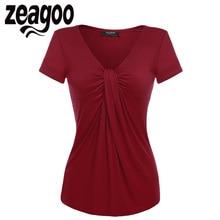Zeagoo Women V-Neck Short Sleeve T-Shirt Solid Casual Lady Summer Tops Twist Knot Front T shirt Tees Top 5 Colors S M L XL