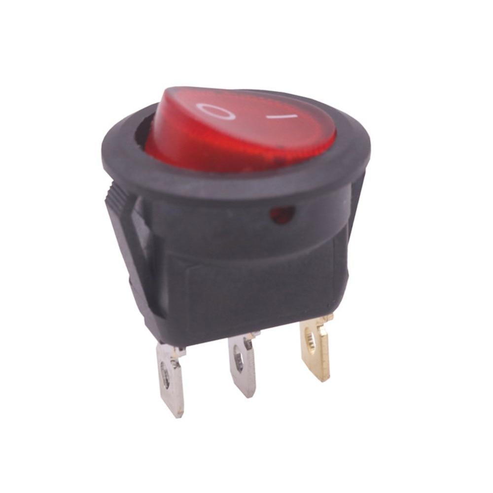 25 pcs 23 * 23 * 25mm 10A 250V 10A 125V AC Rocker Switch Black Round Industrial Switch