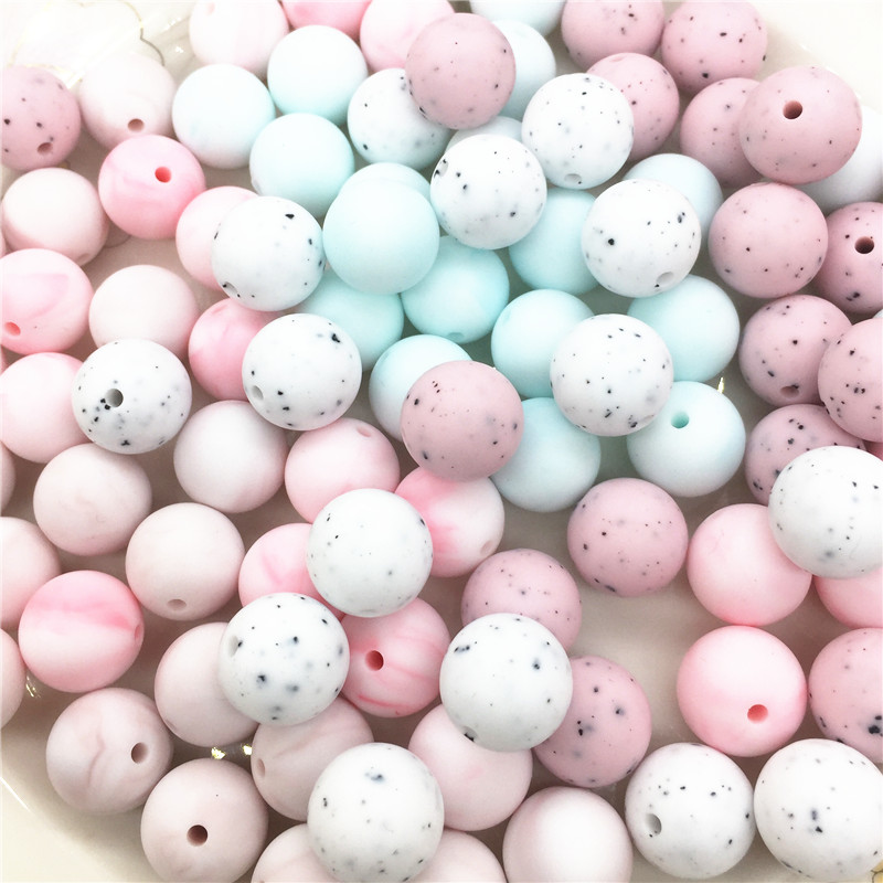 Chenkai 100pcs 12mm 15mm BPA Free DIY Silicone Teether Pendant Beads Baby Pacifier Dummy Sensory Toy Accessories cute mix color