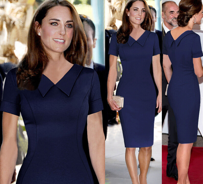 Us 17 94 49 Off British Princess Kate Fashion Style Dress Peter Pan Collar Short Sleeve Women Ol Celebrity Elegant Slim Bodycon Pencil In