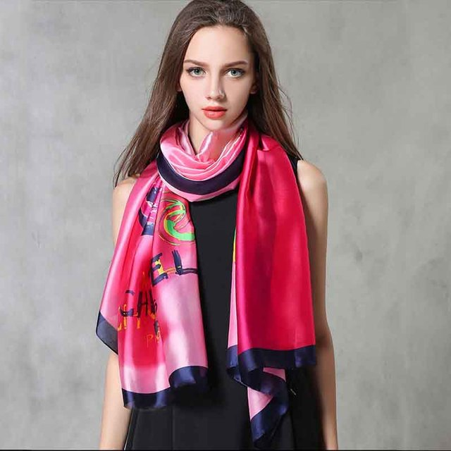 Women Silk Scarves Wraps Printed British Style Brand Casual Hijabs Scarf Fashion Design Foulards Femme Luxury 90*180 Sour Lemon