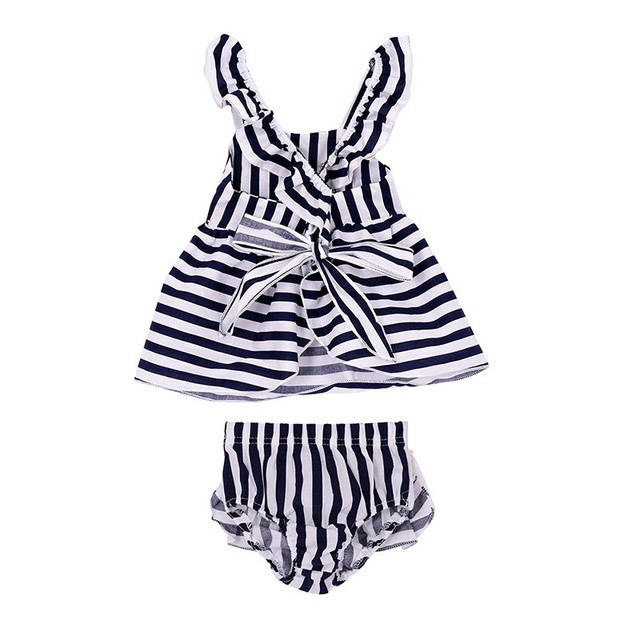 Two piece striped short sleeved dress | Summer 2018 Collection