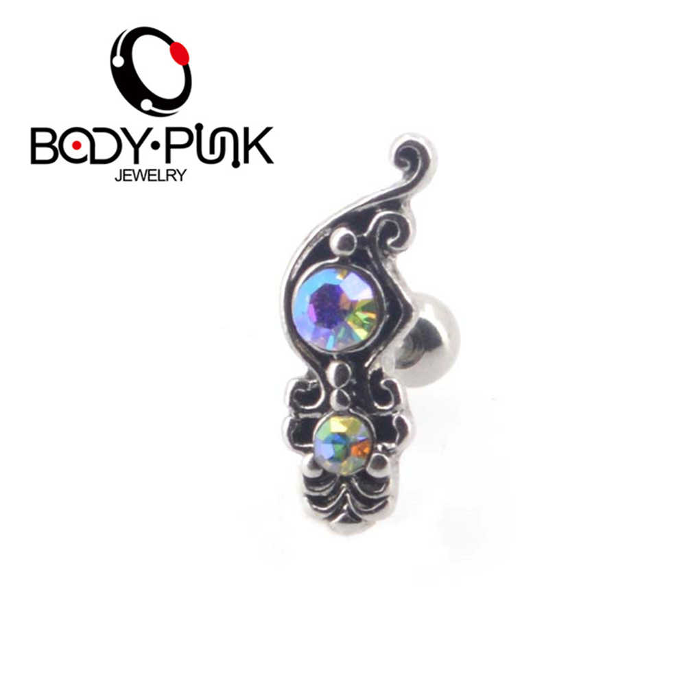 Body Punk 2018 New Arrival 16 g Rainbow CZ Victoria Antique Conch Piercing Ring Tragus Piercing Earrings Helix Ear Stud 1pcs