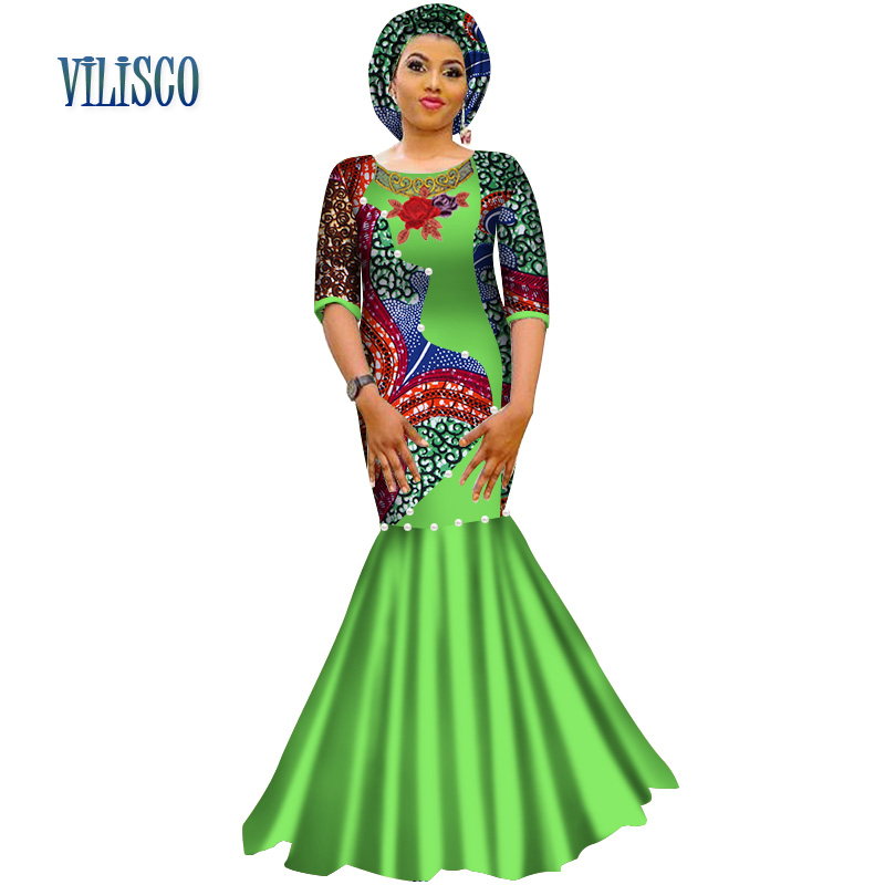 2018 Bazin Pearls Dress Plus Size Women African Clothing