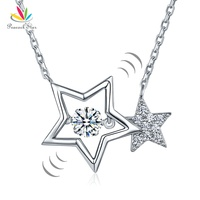 Peacock Star Dancing Stone Stars Necklace Solid 925 Sterling Silver New Style 2017 CFN8090