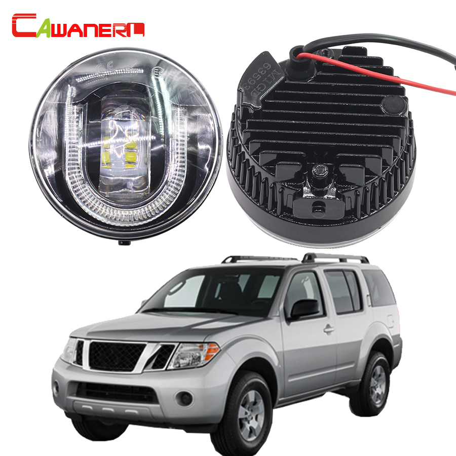 Cawanerl 2 Pieces Car Accessories LED Front Fog Light DRL Daytime Running Lamp 12V For 2005-2015 Nissan Pathfinder R51 cawanerl 2 x car led fog light drl daytime running lamp accessories for nissan note e11 mpv 2006