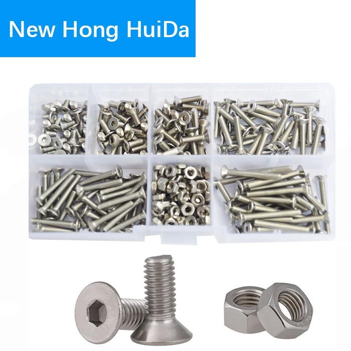 M3 Flat Head Hex Socket Cap Screws Metric Threaded Hexagon Countersunk Bolts Nuts Assortment Kit Set Box 304Stainless Steel