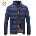 2016 Hot Sale XXL Size Fashion Solid Black Navy Red Khaki Cotton Stand Collar Winter Jacket Men Erkek Mont Coat