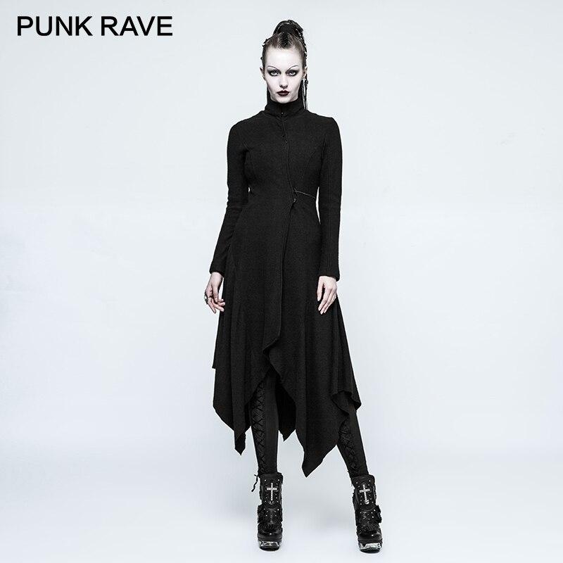 d7658ea7cbfc9 PUNK RAVE 2017 New Style Women s Gothic Black Witch Asymmetry Hem Design  Feminino Female Woolen Warm Long Outwear Jacket-in Wool   Blends from  Women s ...
