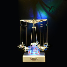 Merry-go-round LED lighted music box Plastic plane Model Craft Movement musical box Carousel Mechanism musical Toy Gift for kid