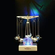 Merry-go-round LED lighted music box Plastic plane Model Cra