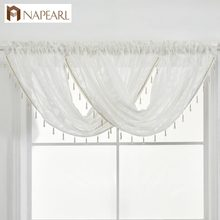 Beaded Waterfall Valance Pelmet Jacquard Semi-Sheer Curtain window treatment faux linen modern kitchen luxury living room decor(China)