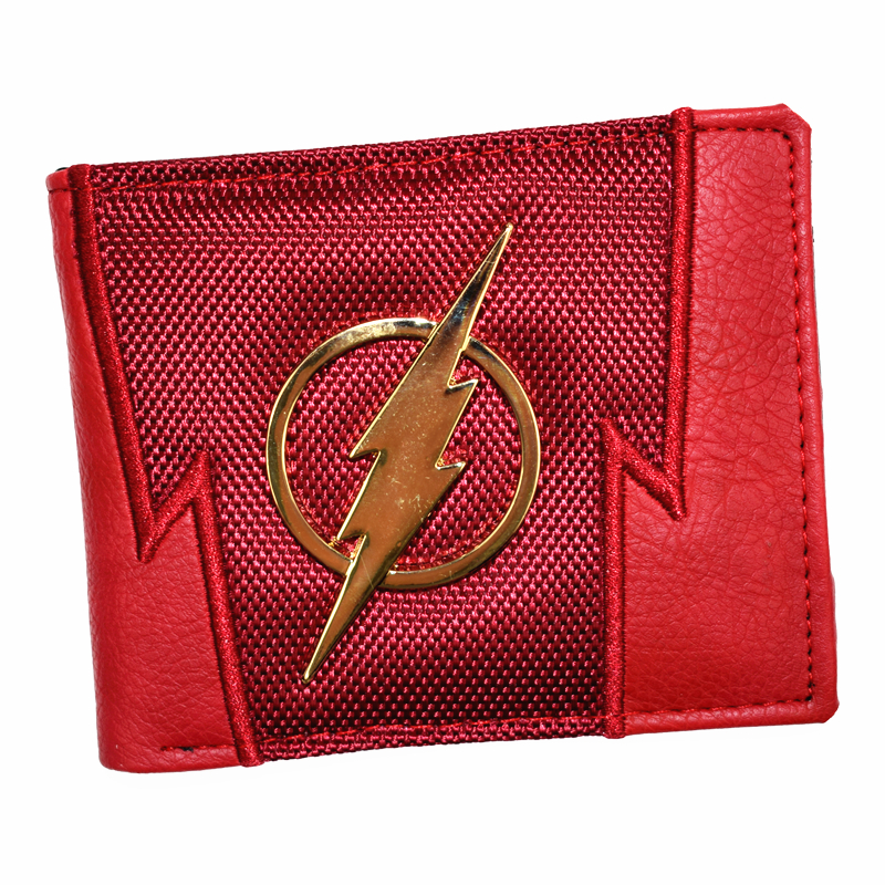 FVIP New Arrival Men's Short Wallet DC Wallets The Flash / Superman Purse With Sequined and Card Holder Boy's Purses все цены