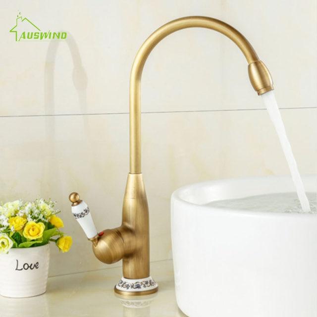Online Shop Antique Brass Faucet All Copper Kitchen Sink Hot Cold ...