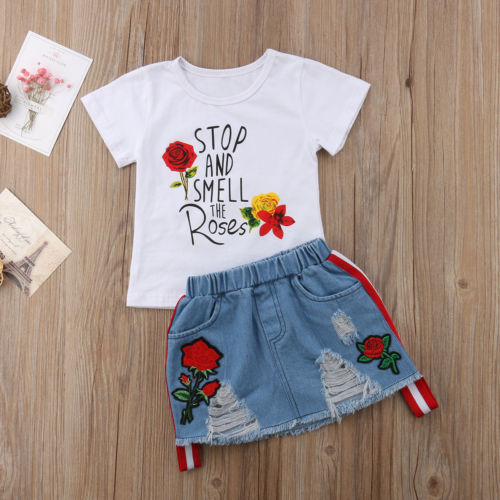 8618b9ed0d6 2PCS Kids Baby Girl Summer Outfits Letters Floral Print T shirt Tops White+Denim  Riped Skirts Set Clothes Summer Beach Casual -in Clothing Sets from Mother  ...