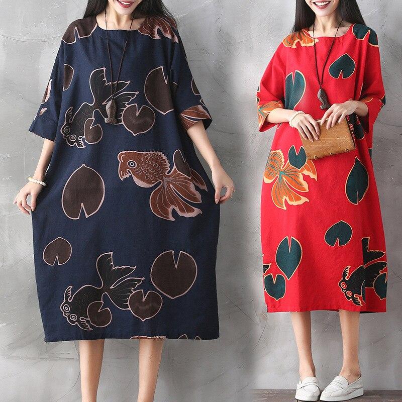 b509524c79da6 Women Floral Pattern Pregnant Dress Cotton Linen Casual Long Sleeve Loose  Dresses women long sleeve pregnancy clothing CE083-in Dresses from Mother &  ...