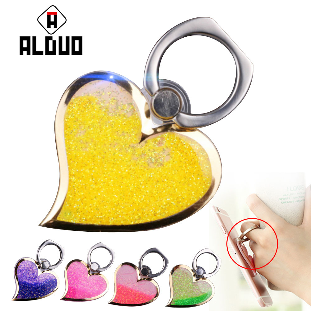ALANGDUO universal Ring Holder heart Finger Ring Mobile <font><b>Phone</b></font> Support Smartphone <font><b>Stand</b></font> For iPhone Ring iPad Metal Grip Holder
