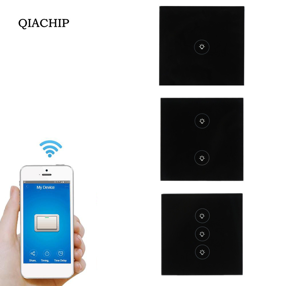QIACHIP Touch UK Plug Wall Wifi LED Light Switch Glass Panel Touch Timer Switch for Smart Home Wireless Remote Switch Control uk 1gang dimmer led touch switches black crystal glass panel light wall switch remote smart home 220v 110v free shipping
