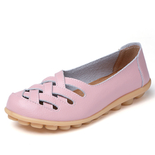 Women Flat Summer Genuine Leather Shoes Woman Loafers Cut-Ou