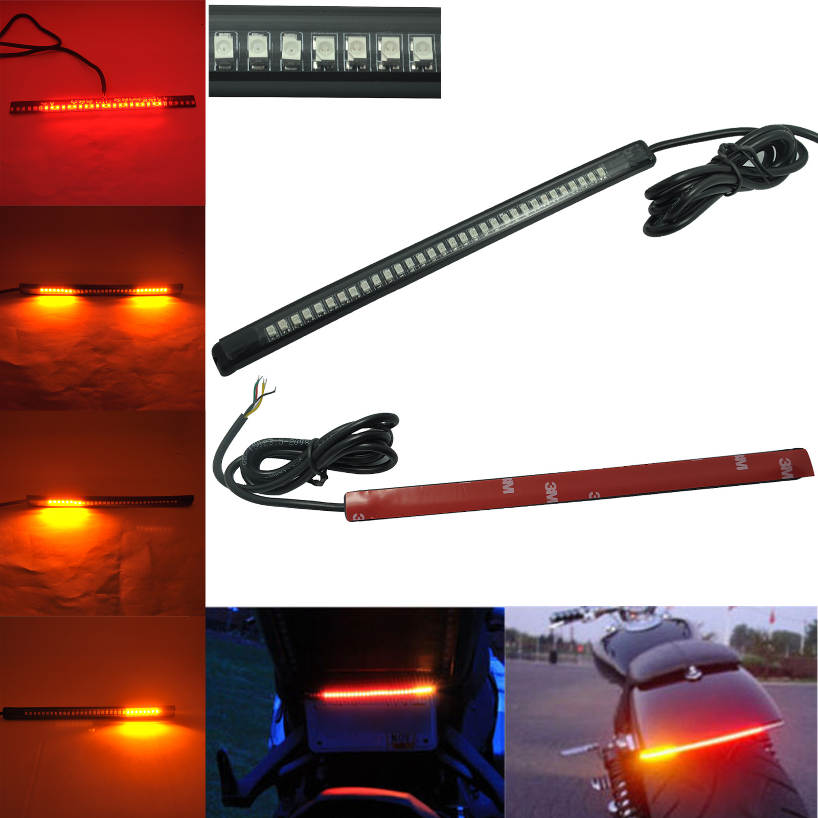 8inch Professional Car 32 LED Flexible Strip Tail Lights Turn Signal Brake Indicator for Motorcycle CSL2017
