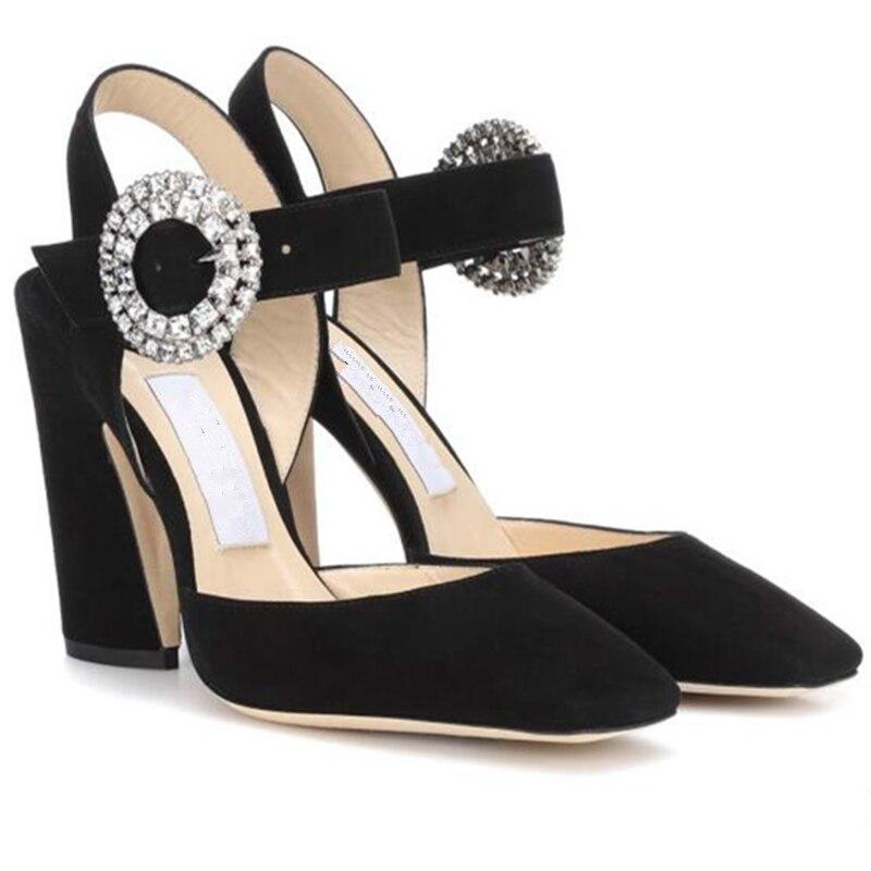 Bling Show Mariage Femme Stilettos Noir Mujer Pompes Sandales As Sandalias Talon Partie Marque Cristal Femmes De Chaussures Talons Haute Chunky SxzwHng00q