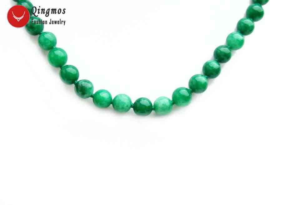 Qingmos Fashion Natural Jades Necklace for Women with 6-8mm Round Dark Green Jades Stone Necklaces Jewelry 33'' Long Necklace